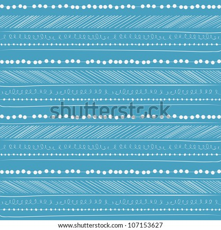 Abstract seamless pattern. Paper background with Hand drawing elements. Blue and white.