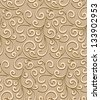 Abstract seamless pattern, vintage gold background, vector swirl texture - stock vector