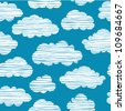 Abstract seamless pattern with white clouds on blue sky. Colorful stylized hand drawn cloudy sky texture - stock vector