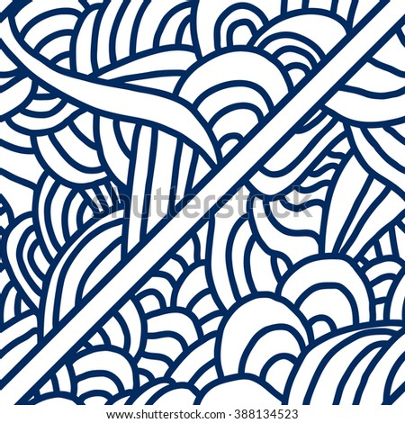 Abstract seamless patterns. Monochrome backgrounds with linear doodles, scales, diagonal waves, hand drawn graphics made with graphics tablet. Vector Illustration.