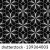 Abstract seamless vector black and white inverted pattern with stylized flower-like six star - stock photo