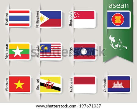 abstract set of nation flags for Southeast asia countries, AEC, ASEAN Economic Community, Vector illustration, EPS10
