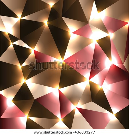 Abstract Shiny Background. Brown and red Sparkly Geometric Illustration.