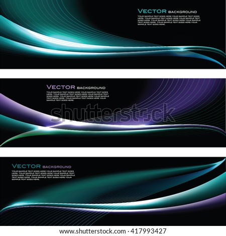Abstract Shiny Banners. Turquoise and Blue Sparkly Backgrounds.