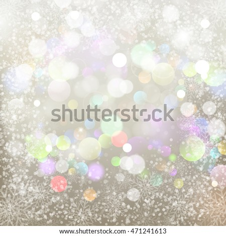 Abstract silver background with snowflakes and colorful boke. Vector illustration for Valentine's day and Christmas posters,  holiday greeting cards, print and web projects.