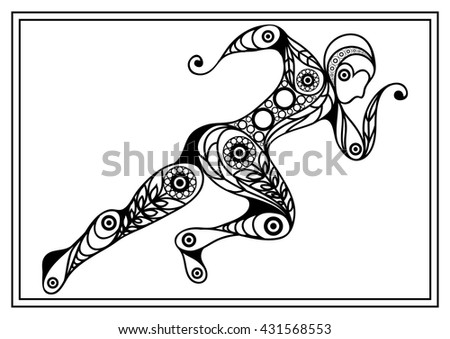 Abstract sport vector runner (athlete). Suitable for invitation, flyer, sticker, poster, banner, card, label, cover, web. Coloring book page. Vector isolated illustration.
