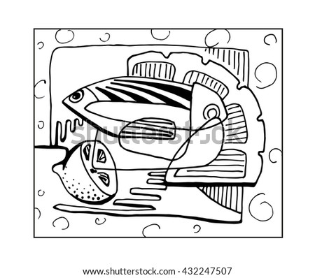 Abstract still life fish and lemon black and white