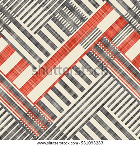 Abstract  striped  geometric seamless pattern on texture background in retro colors. Endless pattern can be used for ceramic tile, wallpaper, linoleum, textile, web page background.