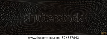Abstract Structural Curved Background. Beige Lines and Golden Waves.  Vector. 3D Illustration