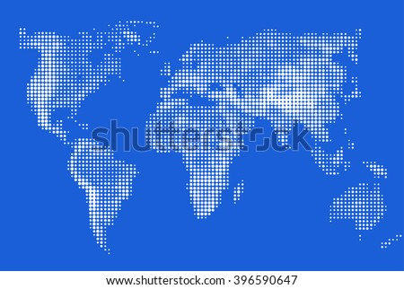 Abstract stylized image of world map. Dotted world map made. Circular pixel World maps blue round dots. Vector illustration business background.