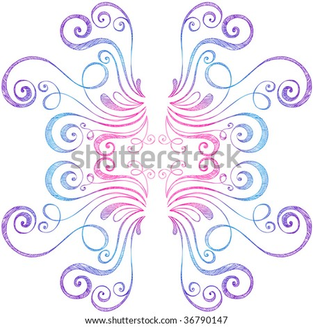 Abstract Swirly Border Hand-Drawn Sketchy Notebook Doodles Vector Illustration