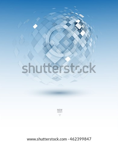Abstract tech background. Futuristic interface. Vector illustration with many geometric shape. Great future concept