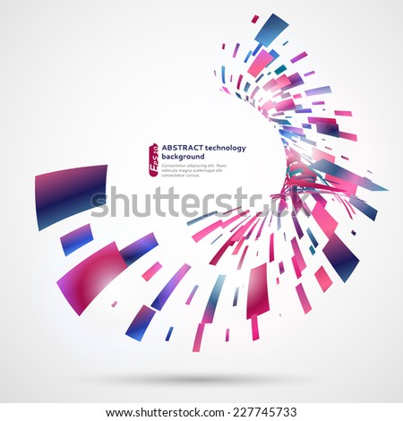 Abstract technology background with colored rectangles