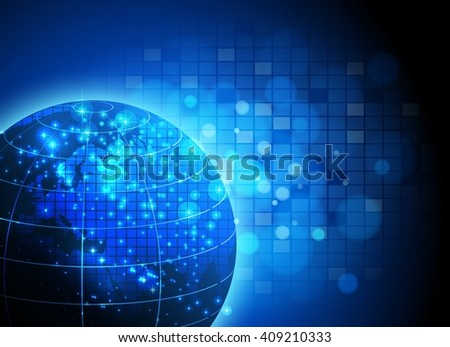 Abstract technology circuit board with world Vector background