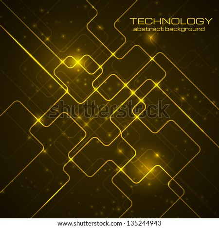 Abstract technology dark orange background. Vector illustration.