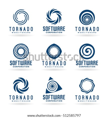 Abstract tornado symbols and spiral logo design elements (2)