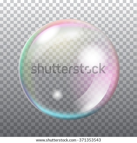 Abstract transparent soap bubble with flares on light grey background. Vector eps10 illustration