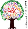 Abstract tree with colorful letters isolated on White background. Vector illustration - stock vector