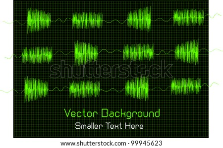 abstract vector background of sound waves and place for your text isolated on black background
