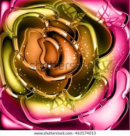 Abstract vector background with rose. Exquisitely frame with shine flower