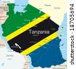 Abstract vector color map of Tanzania country colored by national flag - stock photo