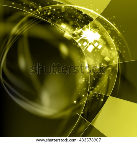 Abstract vector fresh green  background. Shine curl frame with glowing filaments