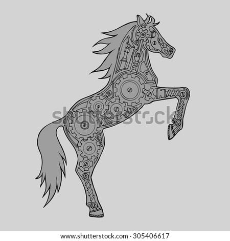 how to draw a horse on hind legs
