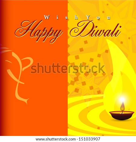 Abstract vector illustration for festival Happy Deepawali card design in shiny color background.