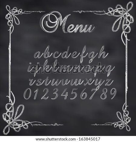 Abstract vector illustration of a chalk menu text on blackboard