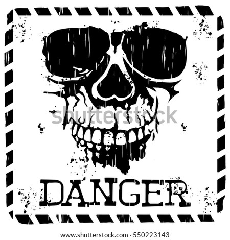 Abstract vector illustration square sing skull with lettering danger