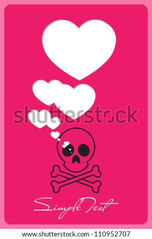 Abstract vector illustration with cranium and hearts.
