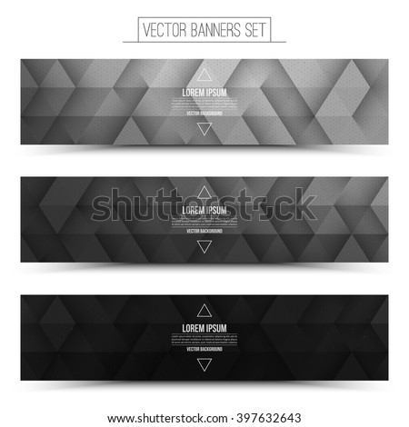 set trendy black vector banners template stock vector 231223888 shutterstock. Black Bedroom Furniture Sets. Home Design Ideas