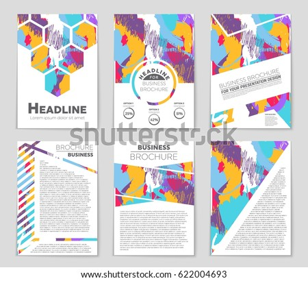 art brochure template - set vector design templates brochures random stock vector