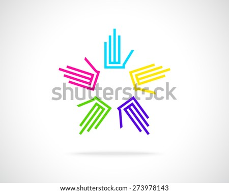Abstract Vector Logo Design Template. Creative Circle of Design Hand Icon. Teamwork Symbol.