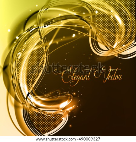 Abstract vector luxury background. Burning golden frame with shine fiber