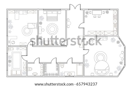 Abstract Vector Plan Of Three Bedroom Apartment With Kitchen Bathroom Childrens Room
