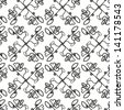 Abstract vector seamless black and white symmetry pattern of scribble crosses - stock vector