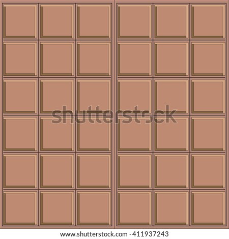 Abstract vector seamless pattern. White chocolate. Very simple design, chocolate bar, rectangle, square geometric form. Brown, beige colors