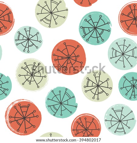 Abstract vector seamless pattern with hand drawn circles