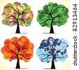 Abstract vector seasonal trees - stock vector