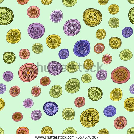 abstract vector vintage colored circles seamless pattern