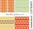 Abstract vintage seamless patterns. Set of four patterns (vector version) - stock vector