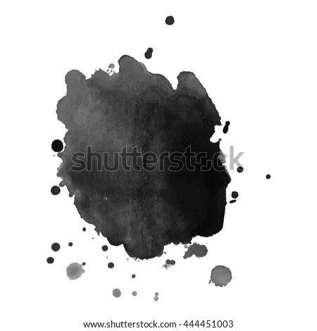 Abstract watercolor grayscale spot with splashes. Vector illustration. Grunge texture for cards and flyers design. A model for the creation of digital brushes