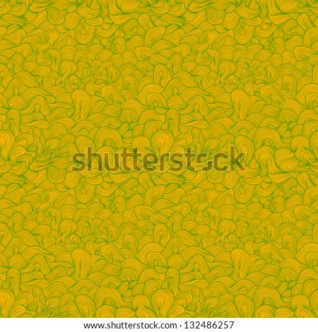 Abstract wavy vector seamless pattern, green and yellow colors.