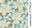 Abstract Whimsical floral seamless pattern. Beautiful flower vector illustration texture - stock vector