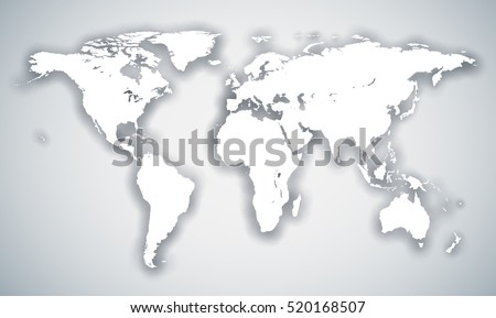 Abstract white world continents map with shadow effect vector template.