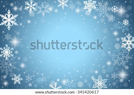 Abstract winter background with falling snowflakes