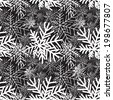 Abstract winter black and white seamless pattern. Snow forest texture. Nature wallpaper. - stock
