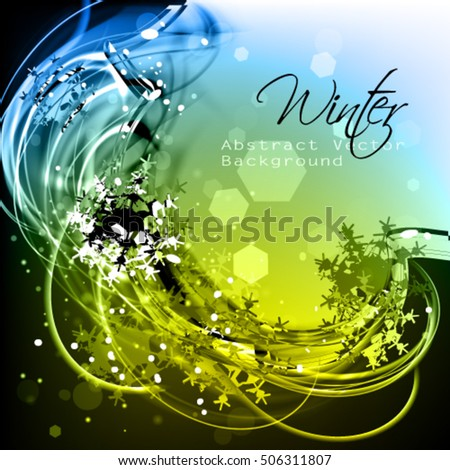 Abstract winter vector background with snowflakes. Stylish exquisite winter cool frame