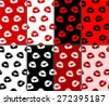 Abstract woman lips prints seamless pattern set. Red, black, white, brown and pastel pink color design background and kiss. sweet lipstick female kiss print wallpaper collection. Vector illustration - stock vector